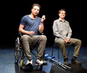 """Theaterhaus in G7 spielt """"Mongos"""" von Sergej Goessner Regie: Martin Brachvogel Mit: Nuri Yildiz, Jonas Werling Foto Thomas Troester"""