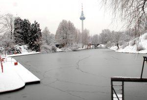 Schneechaos in Mannheim: Winteridylle im Luisenpark Foto Thomas Troester