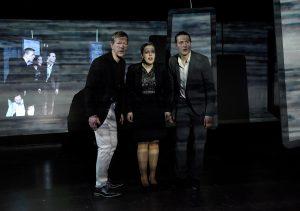 """Theaterhaus G7 Generalprobe """"Radical Minds"""" Regie: Pascal Wieandt Mit: Marie Scholz, Dennis Dagli und Jo Schmitt Ausstattung und Bühne: Linda Johnke Foto Thomas Troester"""